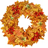 """18"""" Fall Wreath for Front Door, Thanksgiving Wreath with Maple Leaf Red Berry Gypsophila, Autumn Harvest Wreath for Home Deco"""