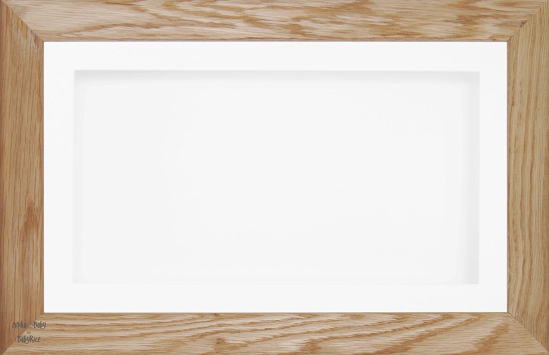 BabyRice 17.78 x 33.02 cm groß - 33.02 x 17.78 cm Display - Holz-Bilderrahmen in Eiche Massivholz - mit Passepartout-