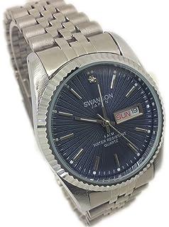 Reloj de Hombre Swanson Japan Watch Men Silver,Fecha Dia Water Resistant