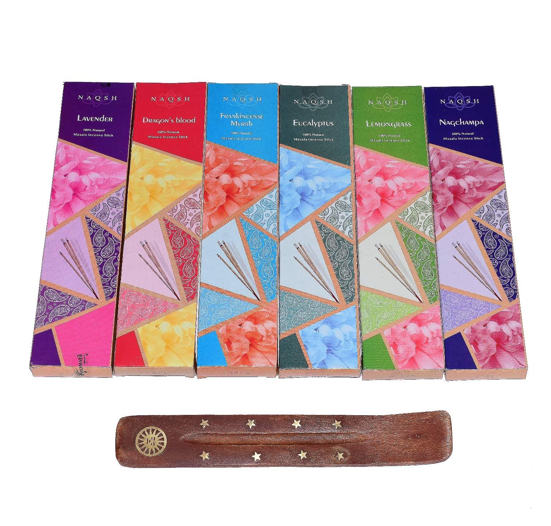 Zahra Premium Hand Rolled Incense- Assorted 6x20 Mesmerizing Incense Sticks Including Lavender, Dragon's Blood, Frankincense Myrrh, Lemongrass, Eucalyptus, and Nagchampa