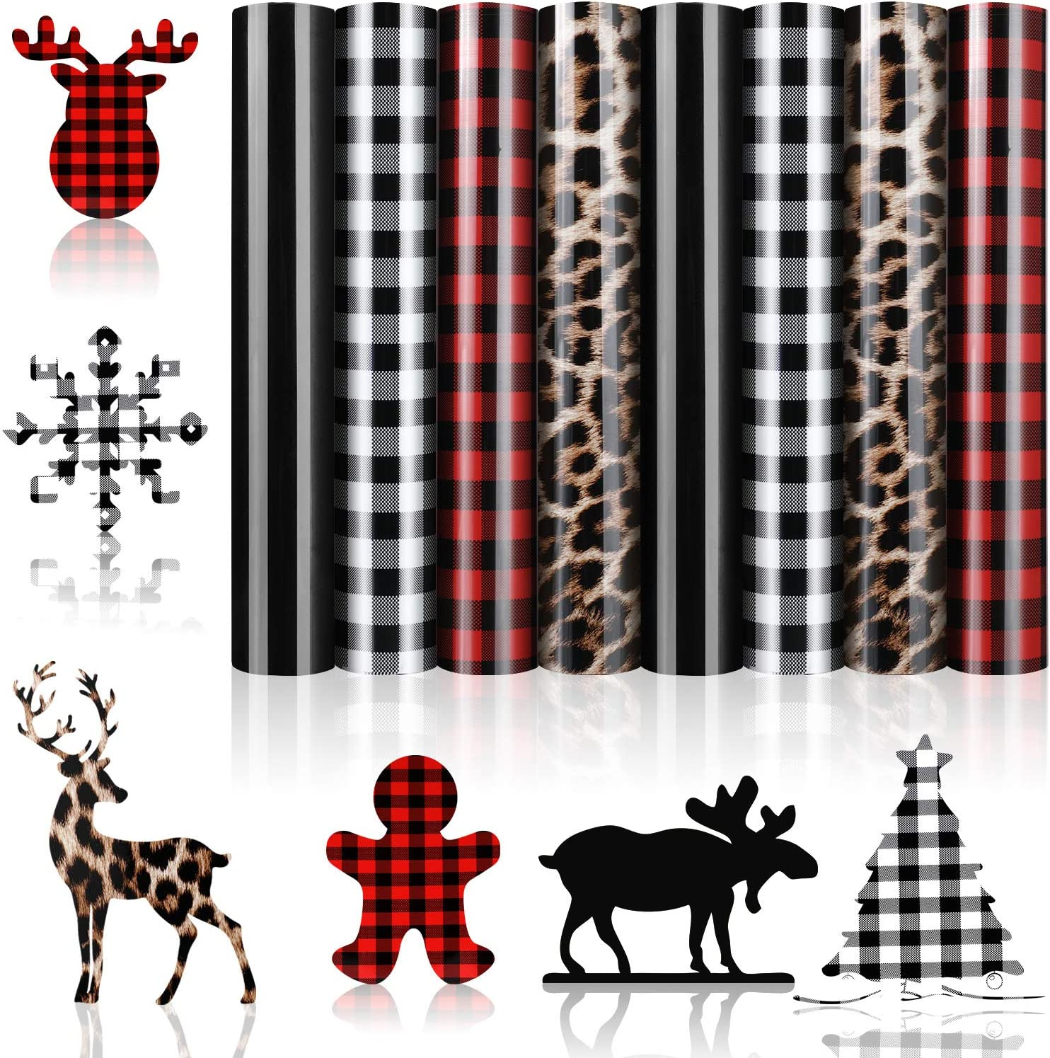 8 Sheets Christmas Buffalo Plaid Iron-on Vinyl HTV Assorted Leopard Pattern Check Heat Transfer Vinyl Heat Transfer Vinyl for T-Shirts Fabric Craft 12 x 10 Inch Red, White-Black, Black, Leopard