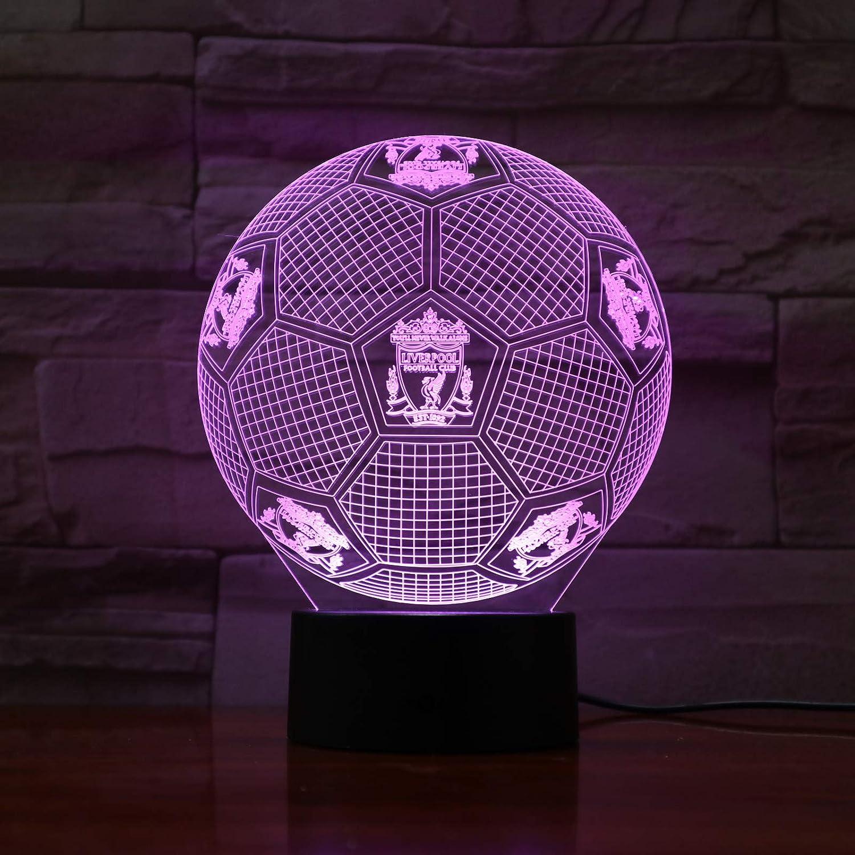 Ilusión óptica 3D Luz nocturna Liverpool Smart 7 colores LED Lámpara de mesa táctil para niños Cumpleaños Navidad Regalo de San Valentín