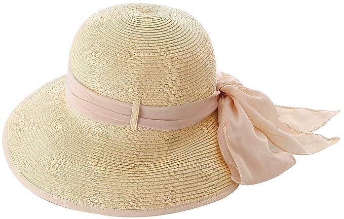 Simplicity Women s Wide Brim Summer Beach Straw Hats 2049 Natural w Pink  Ribbon 3b3b5f5e45ca