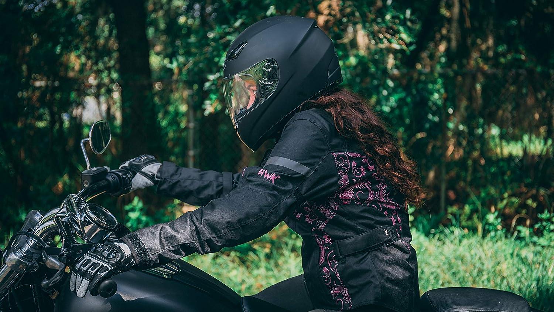 HWK Womens Motorcycle Jacket For Women Rain Waterproof Moto Riding Ladies Motorbike Jackets CE Armored (Black/Pink, XX-Large)