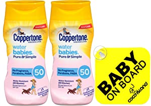 Coppertone WaterBabies Pure & Simple Mineral Based Lotion + BABY ON SIGN 6-Fluid Ounce Bottle (PACK Of Two)
