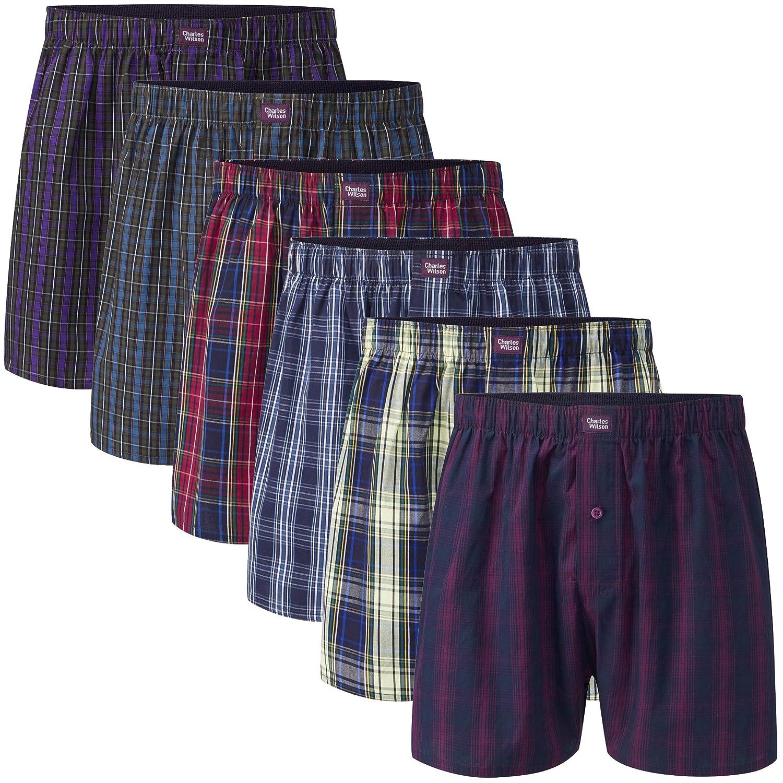 Charles Wilson 6 Pack Men's Premium Woven Check Boxer Shorts