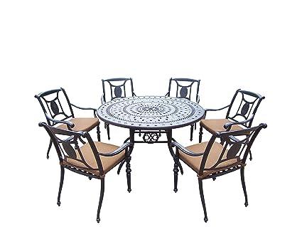 amazon com oakland living victoria 7 piece set with 54 inch round rh amazon com round table pizza oakland round table oakland grand ave