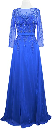 25e61f7083 Meier Women s Embroidery Beaded Long Sleeve Mother of The Bride Evening  Dress