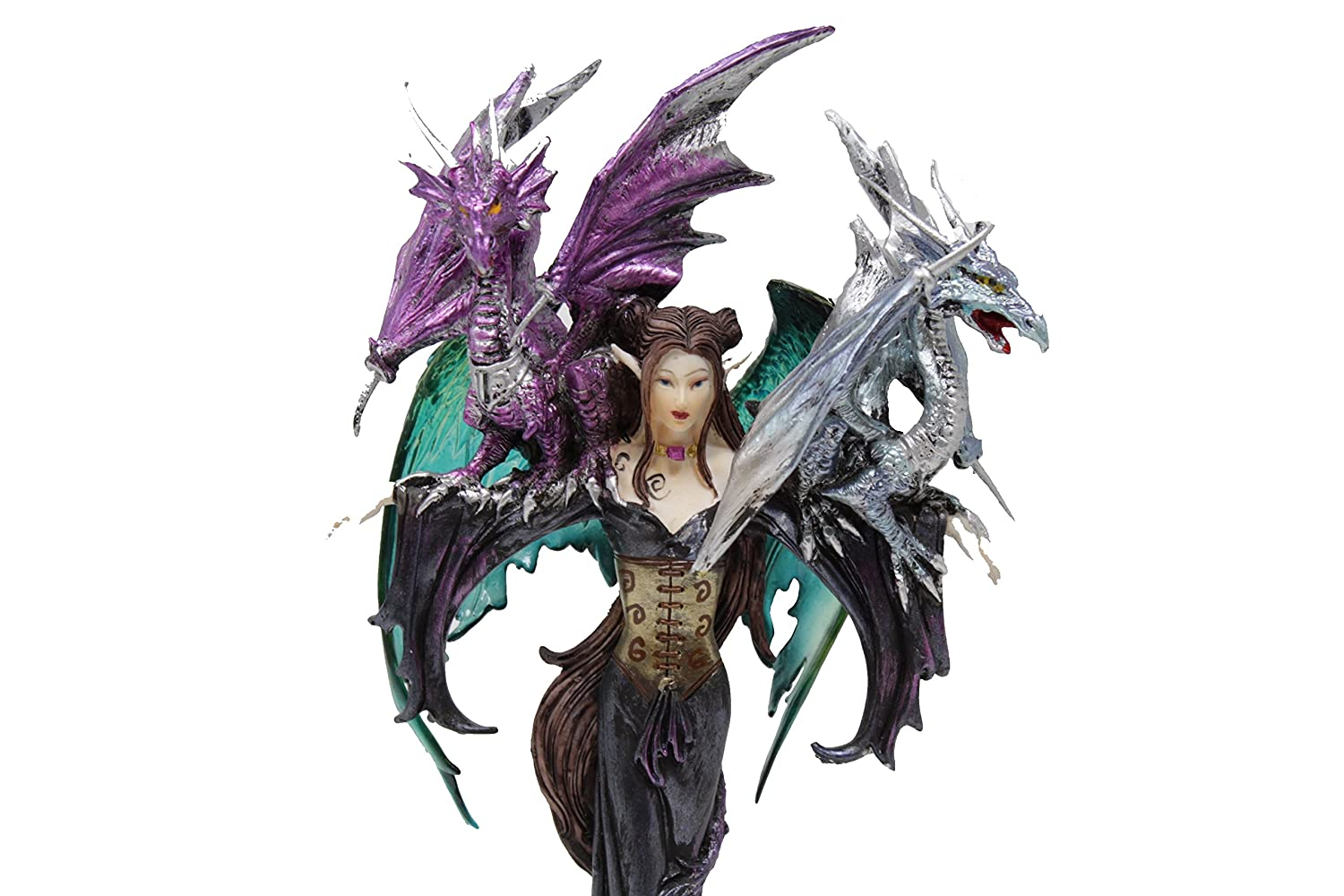 GSC Fairy With Beautiful Blue Wings And Two Dragon Perched Upon Her Arms Collectible Figurine 10 Inches High 91276