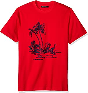 Bugatchi Mens Single Mercerized Cotton Jersey Hawaiian Print T-Shirt