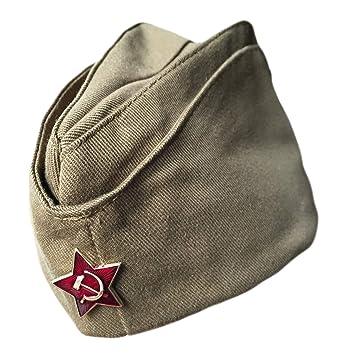 23e07ed385256 Ganwear® Genuine Russian Soviet USSR Army Military Uniform Pilotka Hat Cap  Red Star Badge  Amazon.co.uk  Clothing