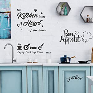 GULIGULI 4 Set-Bon Appetit-Enjoy Cooking Time-The Kitchen is The Heart of The Home-Gather-Lovely Quotes Wall Decals-Vinyl Wall Stickers for Kitchen Decor