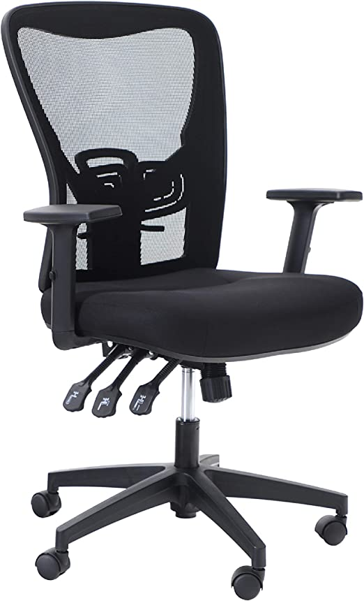 Amazon Com Alpha Home Office Chair Ergonomic Home Desk Chair Mid Back Mesh Computer Task Chair With Lumbar Support Executive Stool With Adjustable Armrest Seat Cushion Rolling Swivel Reclining Chair Kitchen