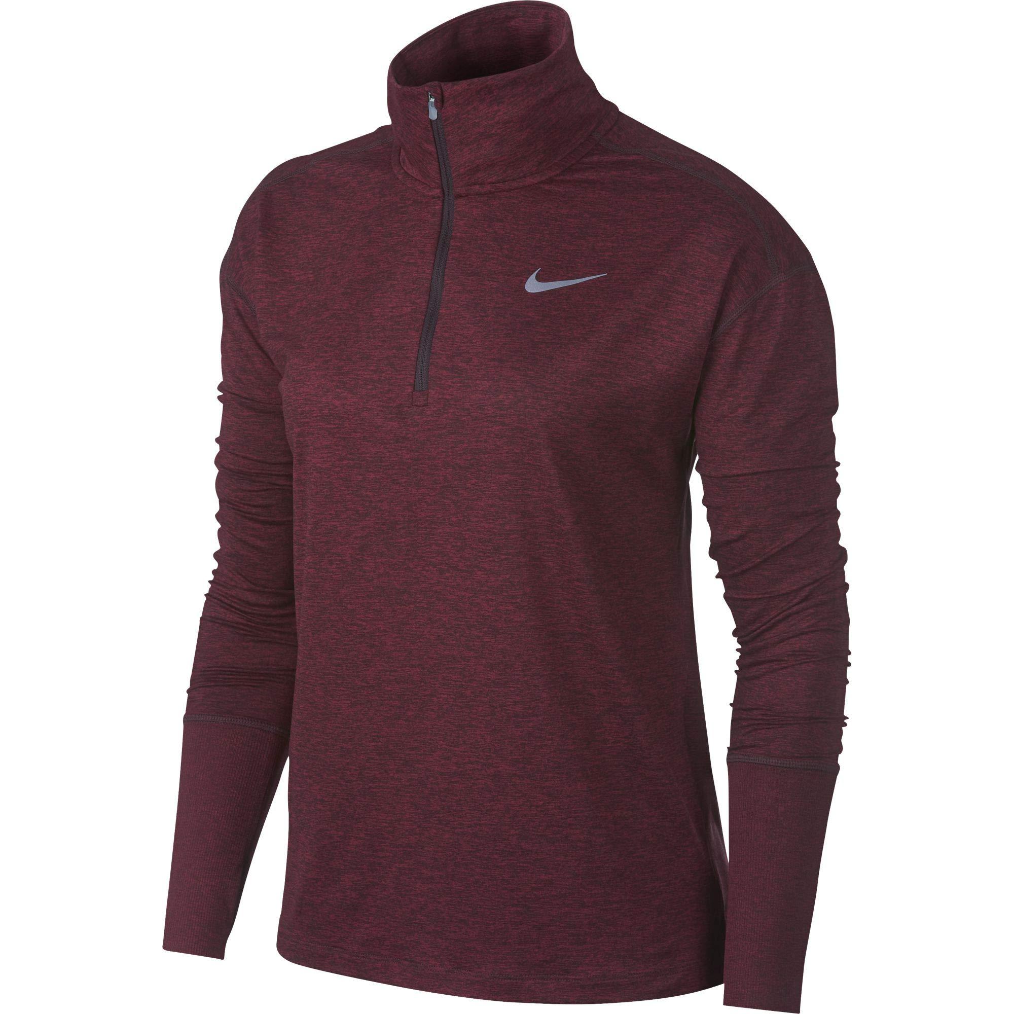 Nike Women's Element 1/2 Zip Running Top Burgundy Crush/Red Crush/Heather Size Small