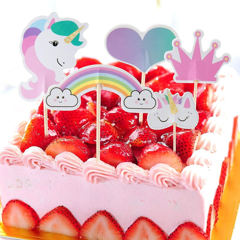 LHKJ 24 Pcs Cake Topper Pasteles con Forma de Arco Iris//coraz/ón//Corona decoraci/ón de Tarta para Fiesta Boda y Tarta de cumplea/ños ect
