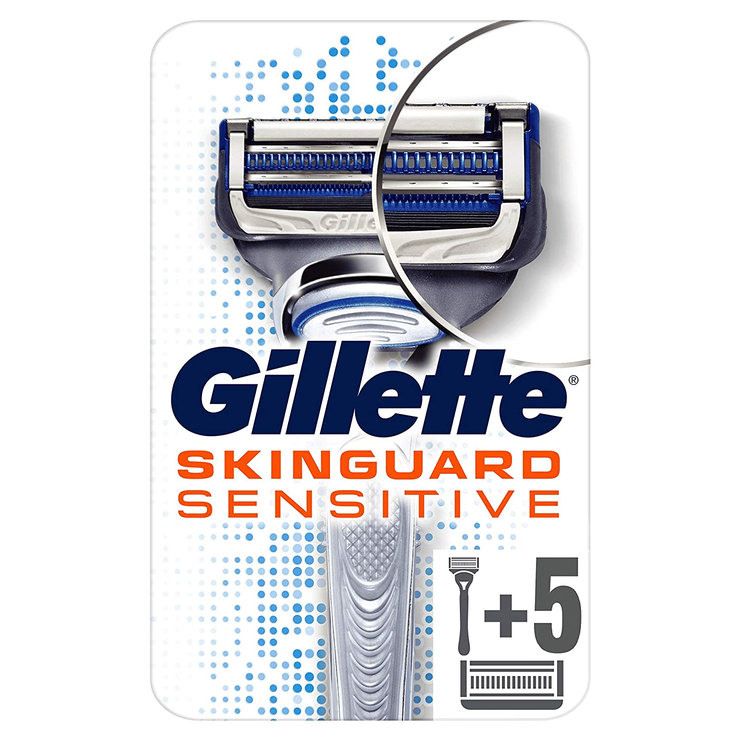 Gillette SkinGuard Sensitive Razor for Men with Precision Trimmer + 6 Refill Blades (Suitable for Mailbox)