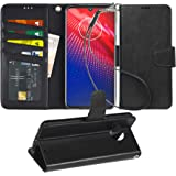 Arae Wallet Case for Moto Z4 PU Leather flip case Cover [Stand Feature] with Wrist Strap and [4-Slots] ID&Credit Cards Pocket