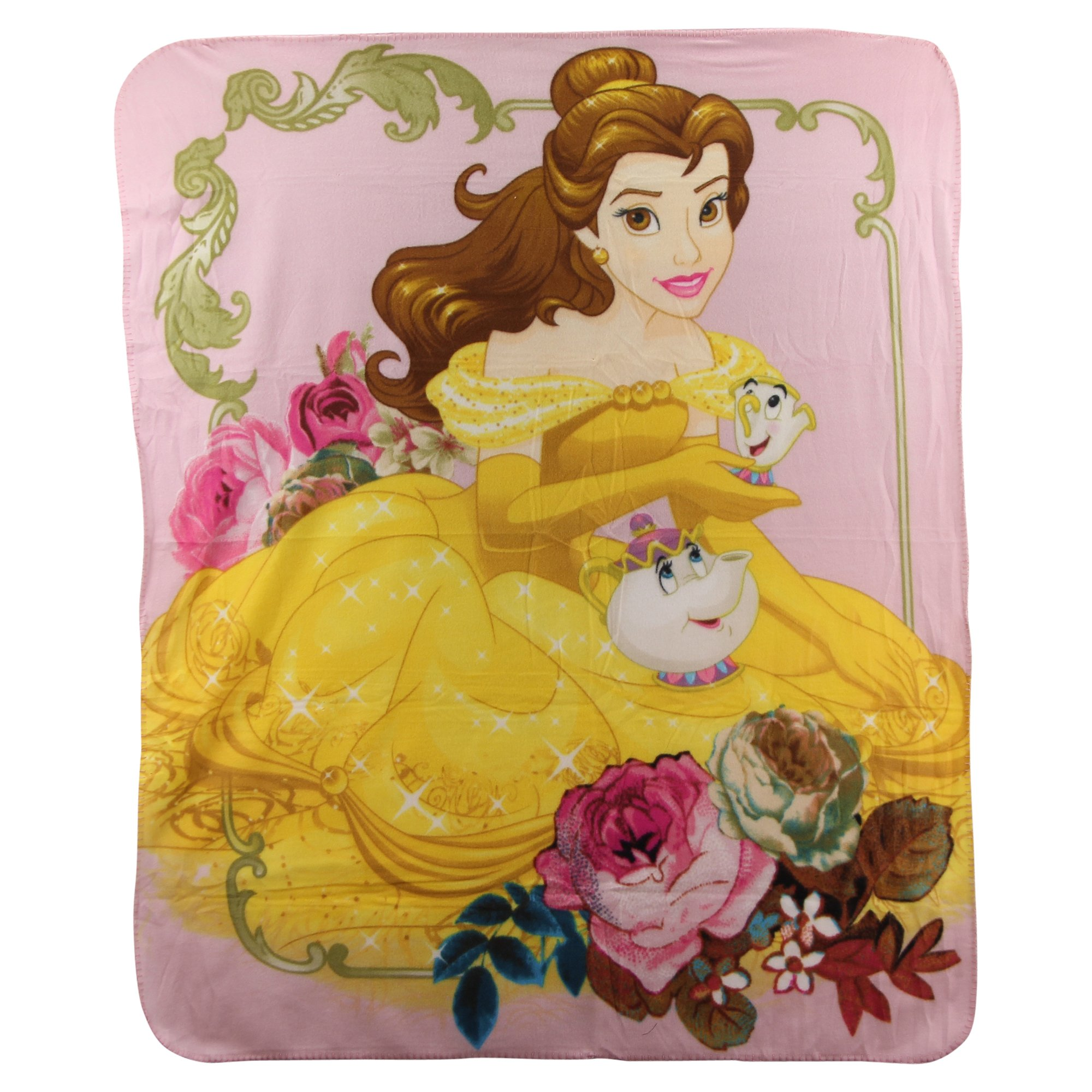 Beauty and The Beast '' Belle & Mrs' Potts'' Kids Character lightweight Fleece Throw Blanket