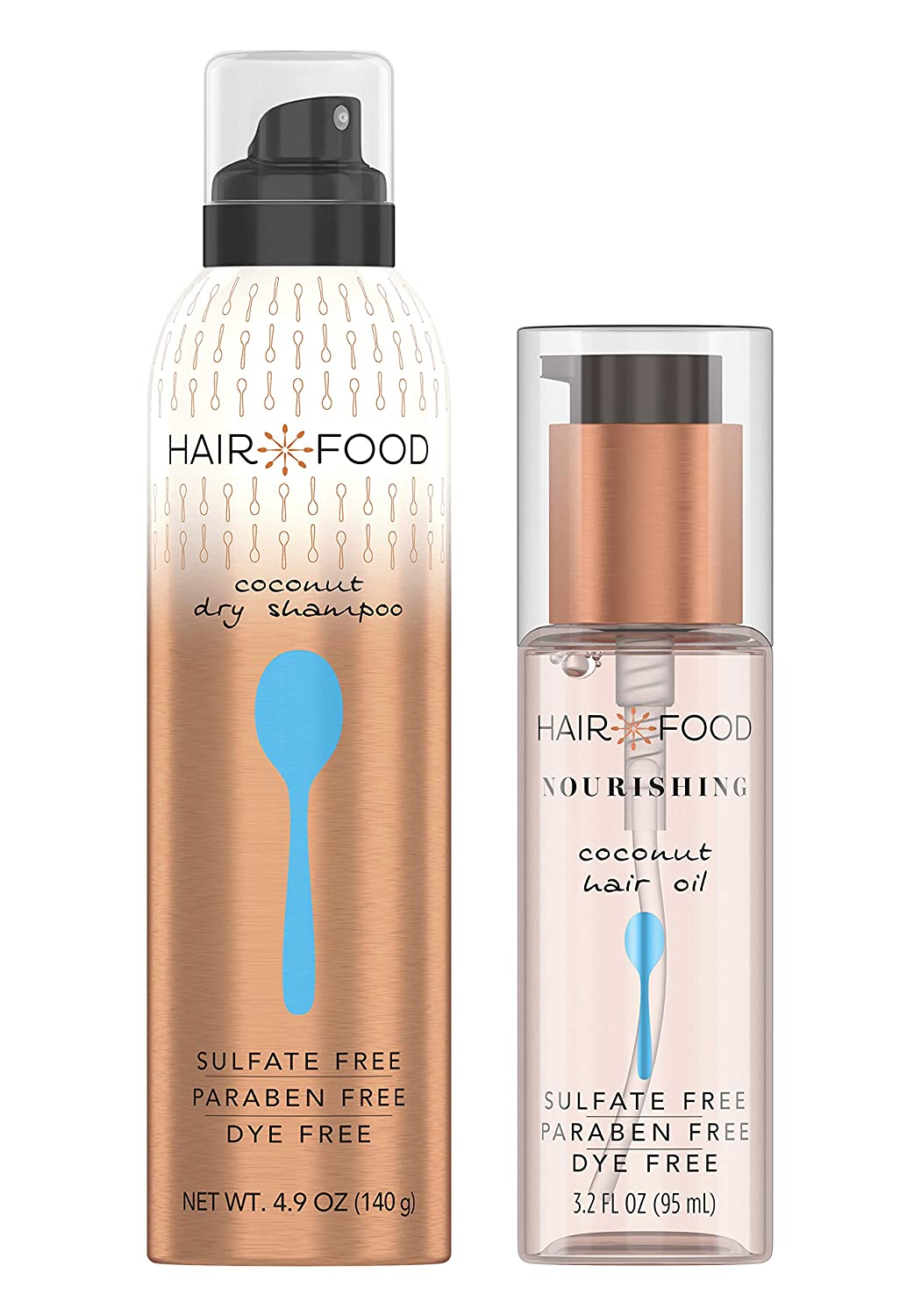 Hair Food Sulfate Free Dry Shampoo and Hair Oil, Nourishing Formula Infused with Coconut, Dye Free, Bundle