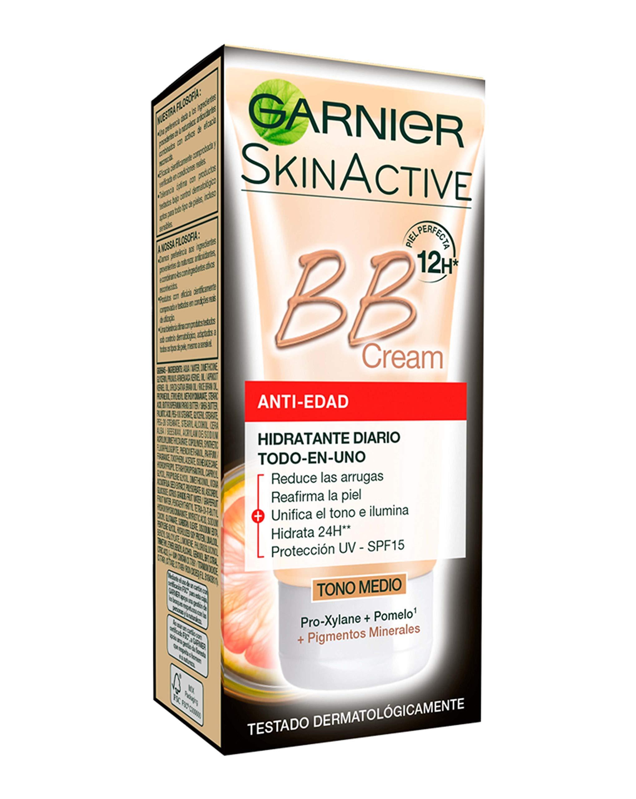 Garnier Skin Active BB Cream Anti-Edad Crema Correctora Anti-Imperfecciones para Piel Madura, Tono Medio SPF15 con Vitamina C - 50 ml