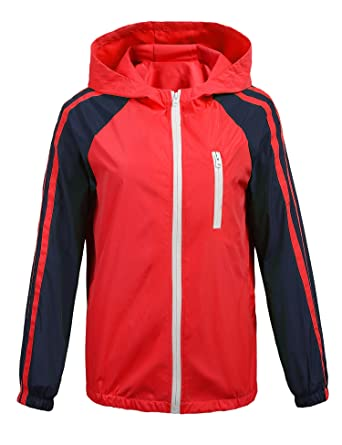 Donkap Women Windbreakers Lightweight Outdoor Hooded Rain Trench Jacket Red addad42225