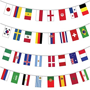 My Planet Banderines gigantes (32 banderines del mundo) de alta calidad con banderines grandes