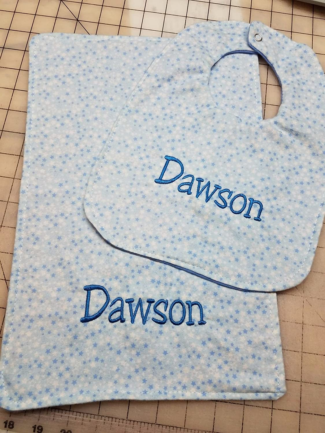 Personalized Boys Baby Blue Stars Baby Bib & Burp Cloth Set