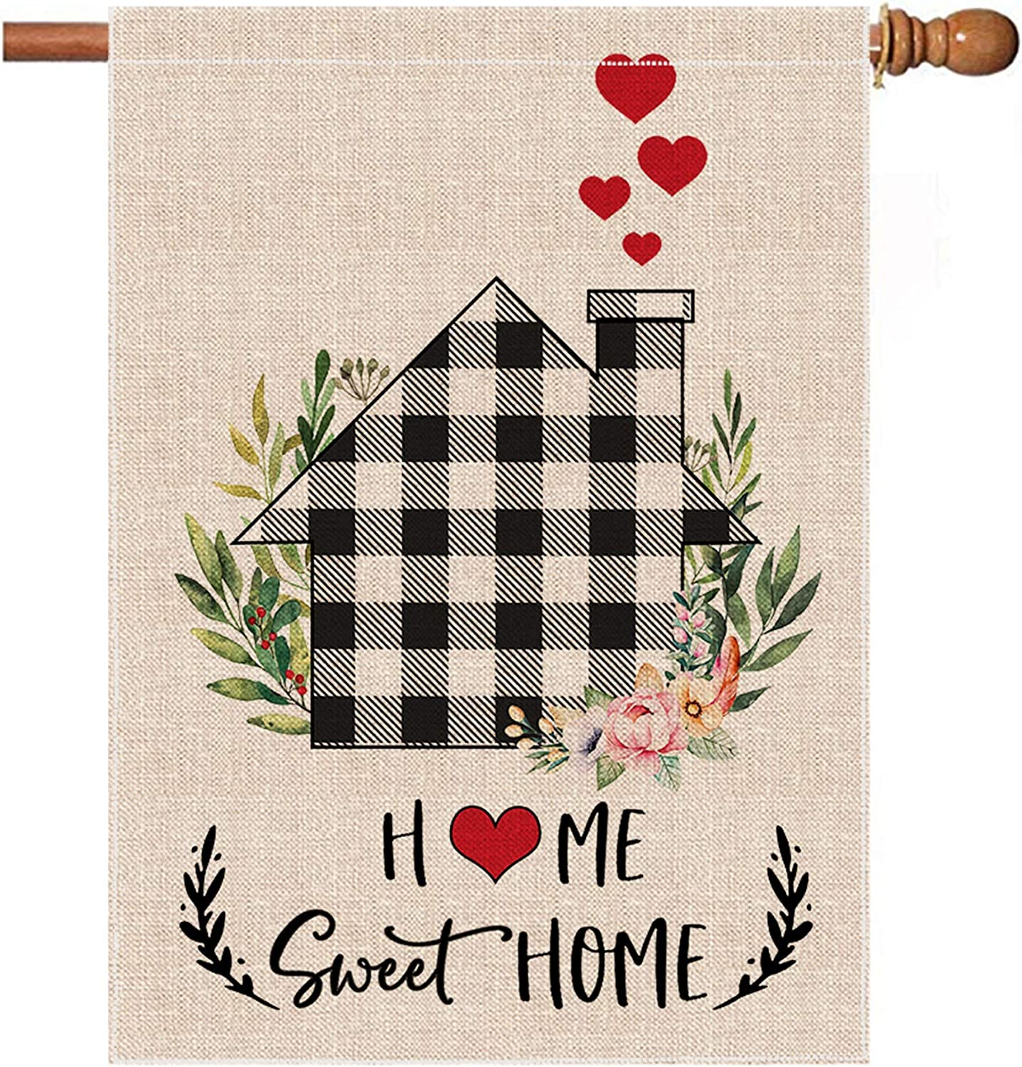 Hexagram Home Sweet Home House Flag, Fall Winter Vertical Double Sided Burlap Black White Buffalo Plaid Check Farmhouse House Flags, Spring Summer Rustic Farmhouse Yard Outdoor Decoration 28x40 Inch