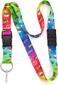 Buttonsmith Comix Breakaway Lanyard - with Buckle and Flat Ring - Made in The USA