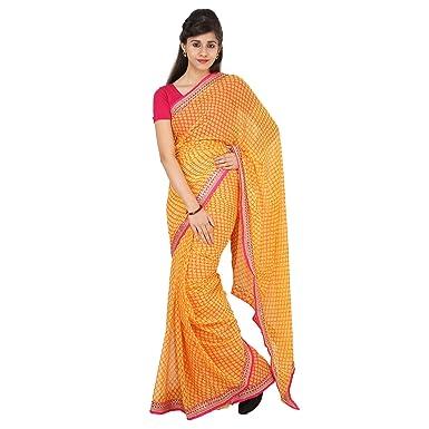 f9a9307030 DesignerHaat Women's Batik Printed Chiffon Saree with Blouse Piece  (ASSA-M-0030, Orange & Yellow, Freesize): Amazon.in: Clothing & Accessories
