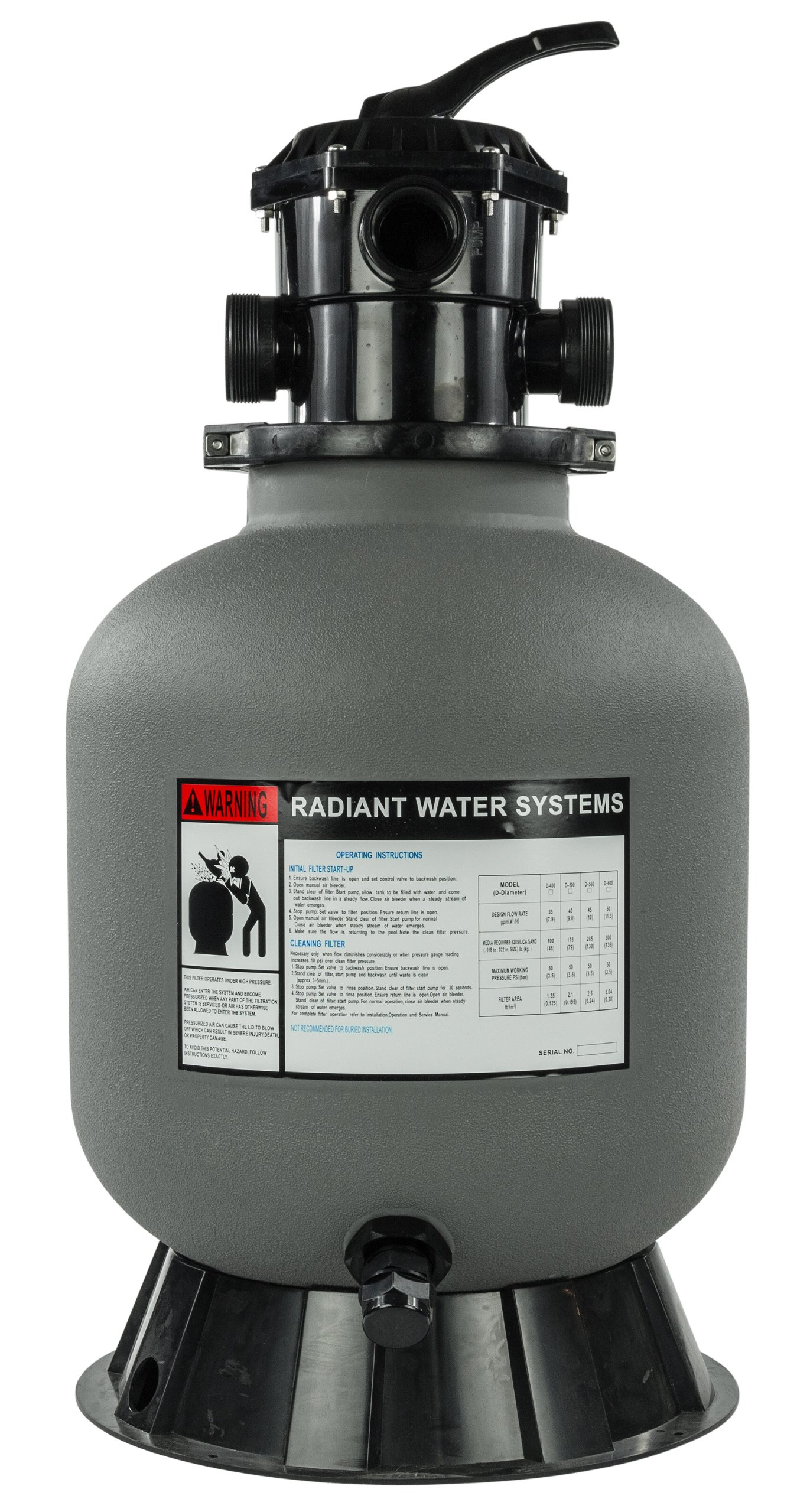 Rx Clear Radiant Sand Filter | for Above Ground Swimming Pool | 19 Inch Tank | 175 Lb Sand Capacity | Up to 21,000 Gallons by Rx Clear