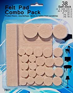 Felt Pads - 38 Pack Various Sizes, Self Stick Heavy Duty Chair Floor Protectors, Glides for Furniture, Bar Stools, Lamps, TV's - Flooring Protection for Hardwood, Laminate, Linoleum, Tile.