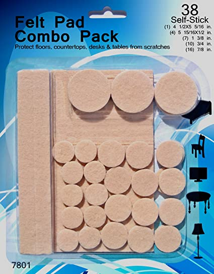 Beau Felt Pads   38 Pack Various Sizes, Self Stick Heavy Duty Chair Floor  Protectors,