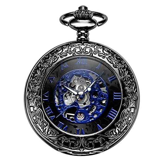 treeweto Retro para hombre negro esqueleto mecánico azul números romanos reloj de bolsillo con cadena: Amazon.es: Relojes