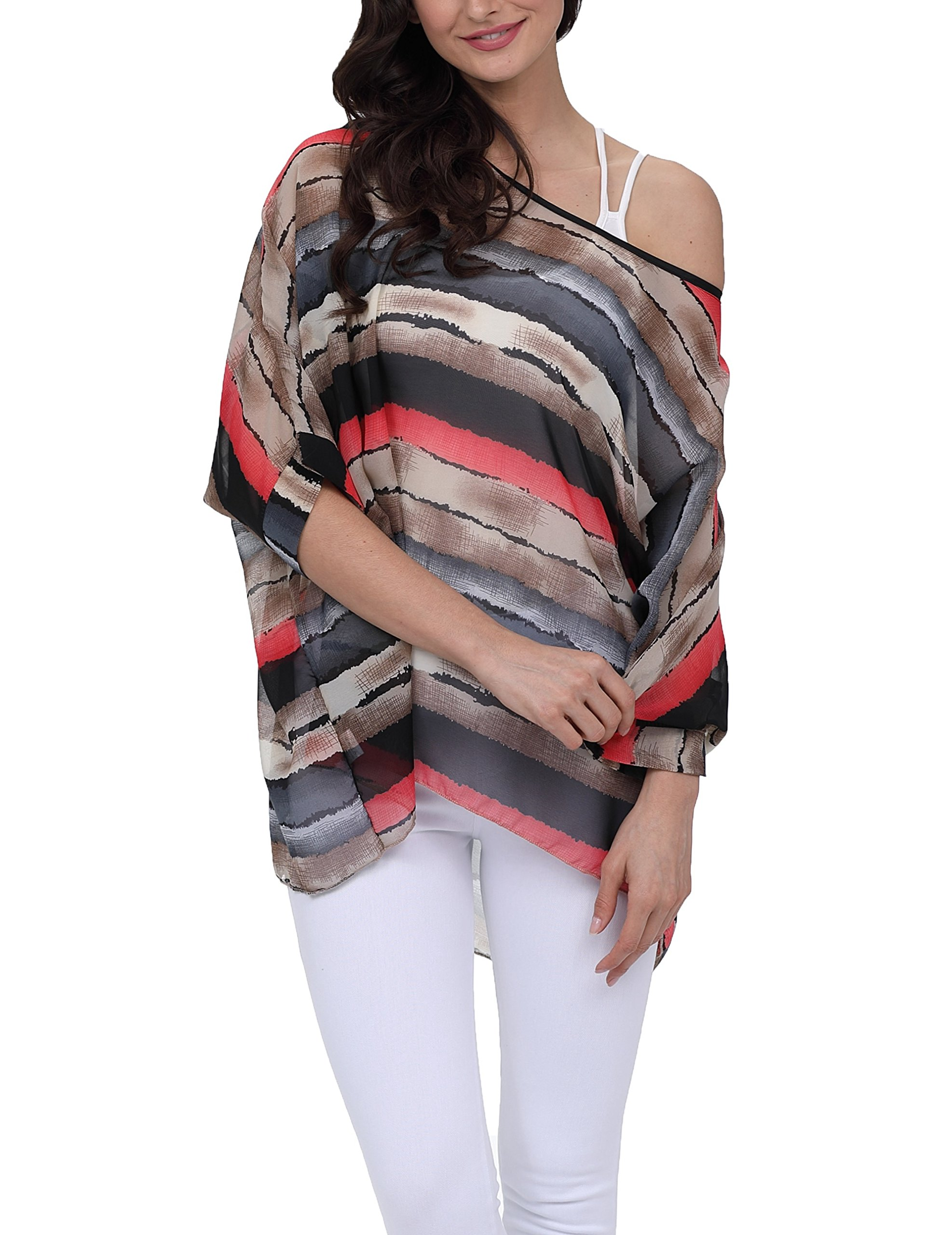 Vanbuy Women Summer Floral Printed Batwing Sleeve Top Chiffon Poncho Casual Loose Blouse Z91-4294