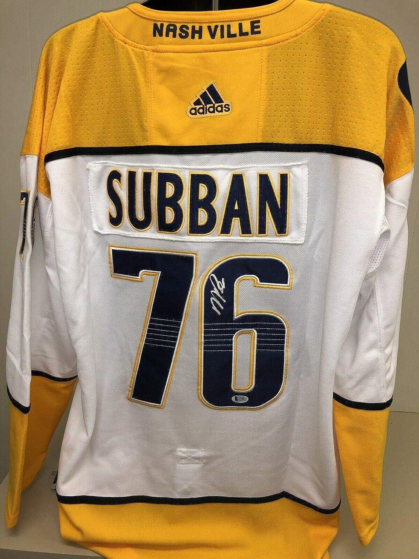 size 40 dd010 d2901 Pk Subban Signed Nashville Predators Jersey Beckett Bas 2 ...