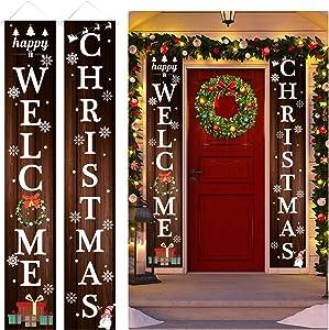 TREACLUB Christmas Porch Sign, Xmas Porch City Country & Farmhouse Wall Hanging Banner Flag, Xmas Decor Set for Home Front Door Garden Party
