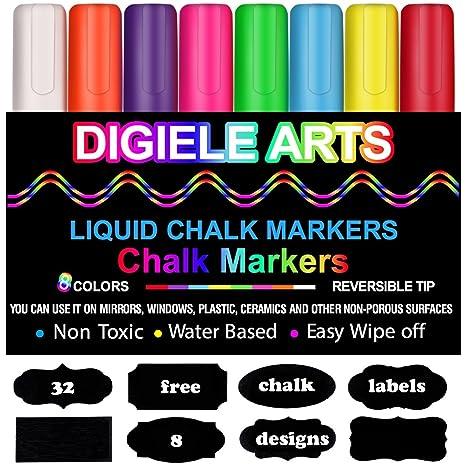 Kreidemarker, DIGIELE 8 Stück farbig sortiert mit 32 Tafelaufkleber, Reversible Stiftspitze 6mm, Trocken oder Feucht Abwischb