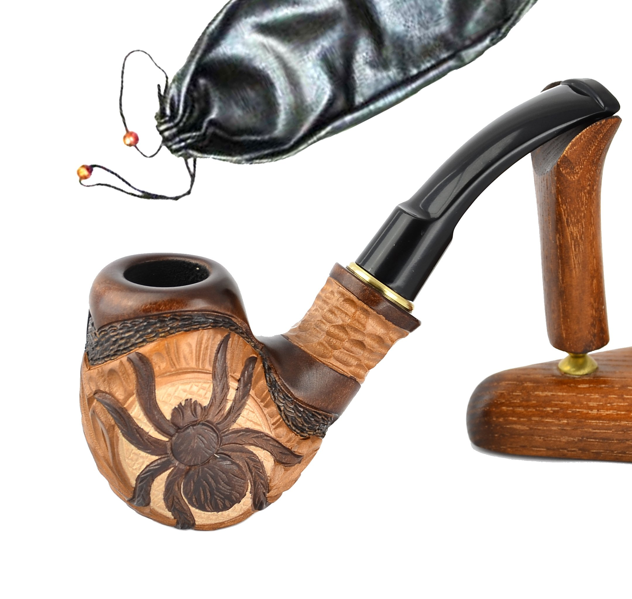 "CDM product Pear Wood Hand Carved Tobacco Smoking Pipe ""Spider"" + Pouch big image"