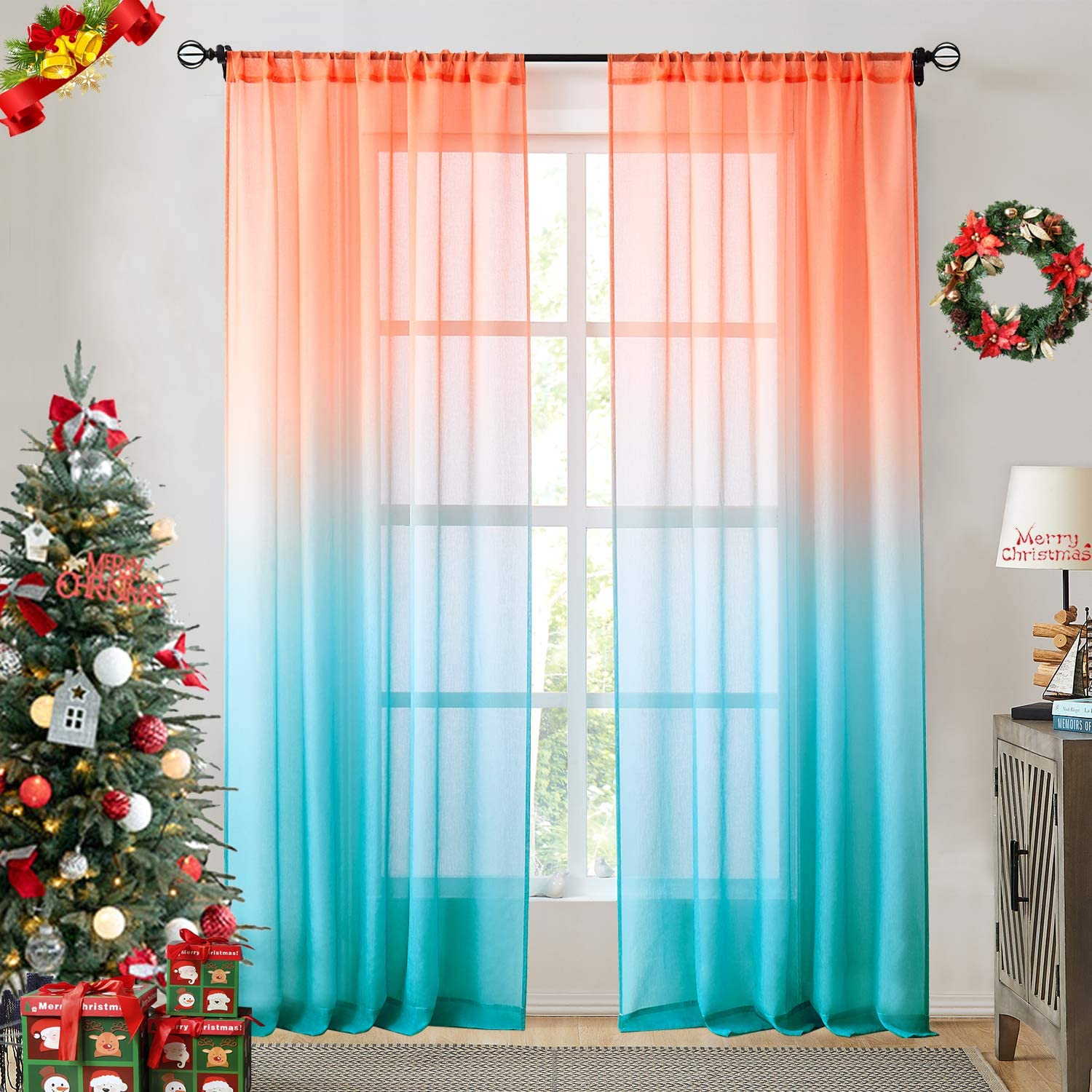Faux Linen Ombre Sheer Curtains Orange and Blue 2 Tone Reversible Rod Pocket for Bedroom Living Room,Privacy and Light Filtering Semi Sheer Gradient Window Curtain Pair , Set of 2 Panels, 54 x 84 inch