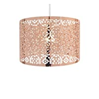 Country Club 12397556 Large Round Drum Light Shade With Cut Out Pattern Copper 29cm