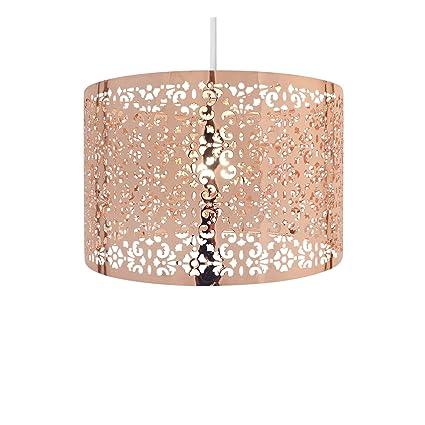 Sombra de luz de tambor redondo grande con recorte patrón cobre 29 cm