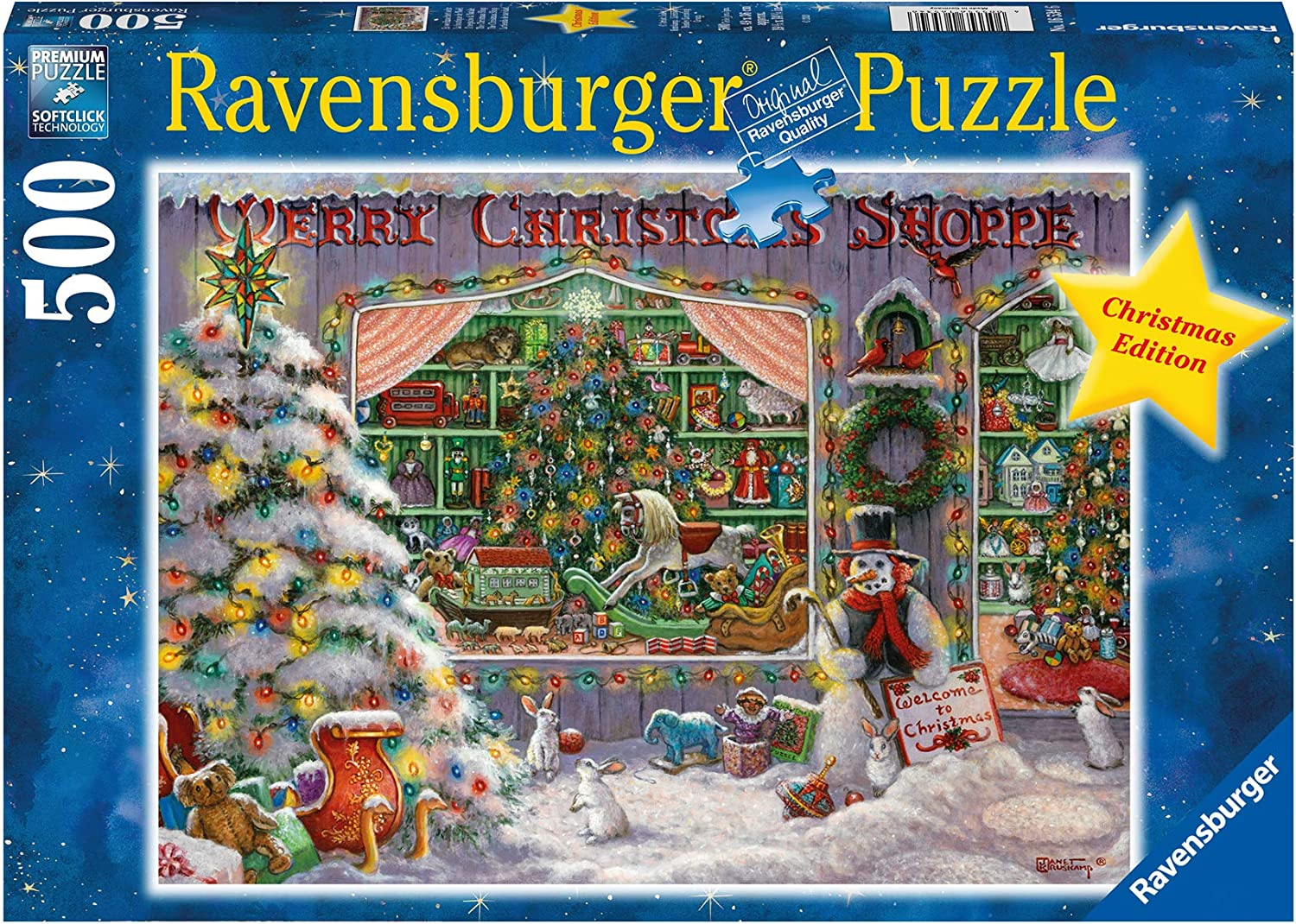 Ravensburger The Christmas Shop500 Piece Jigsaw Puzzle for Adults - Every Piece is Unique, Softclick Technology Means Pieces Fit Together Perfectly, 16534