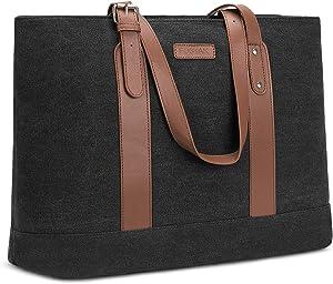 Utotebag Women Laptop Tote Bag, 15.6 Inch Notebook Ultrabook Shoulder Bag Lightweight Canvas Briefcase Classic Handbag Handle Adjustable Work Travel Business Bag (Canvas Black)