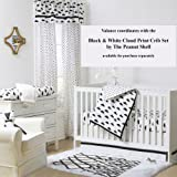 Black on White Cloud Print Tailored Window Valance