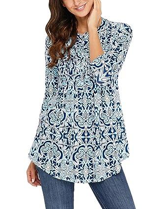 fabf16c3721d2 ASSKDAN Femme Amincissant T-Shirt Chemise Bohême Imprimé Fleur Manche 3 4  Tops Tunique