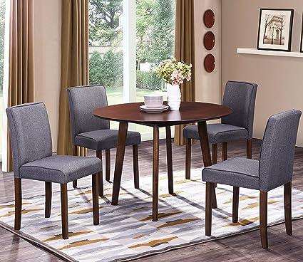 Amazoncom HarperBright Designs Round Wood Dining Table With - Round wooden dining table and 4 chairs
