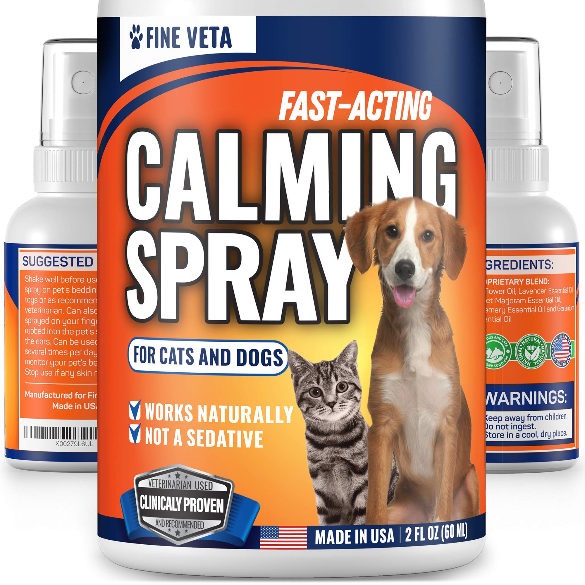 Dog Anxiety Calming Aid - Natural Oil Calming Spray for Dogs and Cats - Made in USA - Relieve Stress, Anxiety, Barking - Works for Vet Visits, Travel, Storms and Fireworks - Long-Lasting Effect - 2oz by Fine Veta