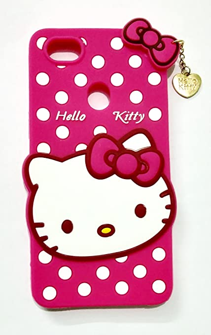 best cheap 6a404 c64ac Trifty Oppo F7 Girl's Back Cover Hello Kitty Silicon with Pendant - Pink