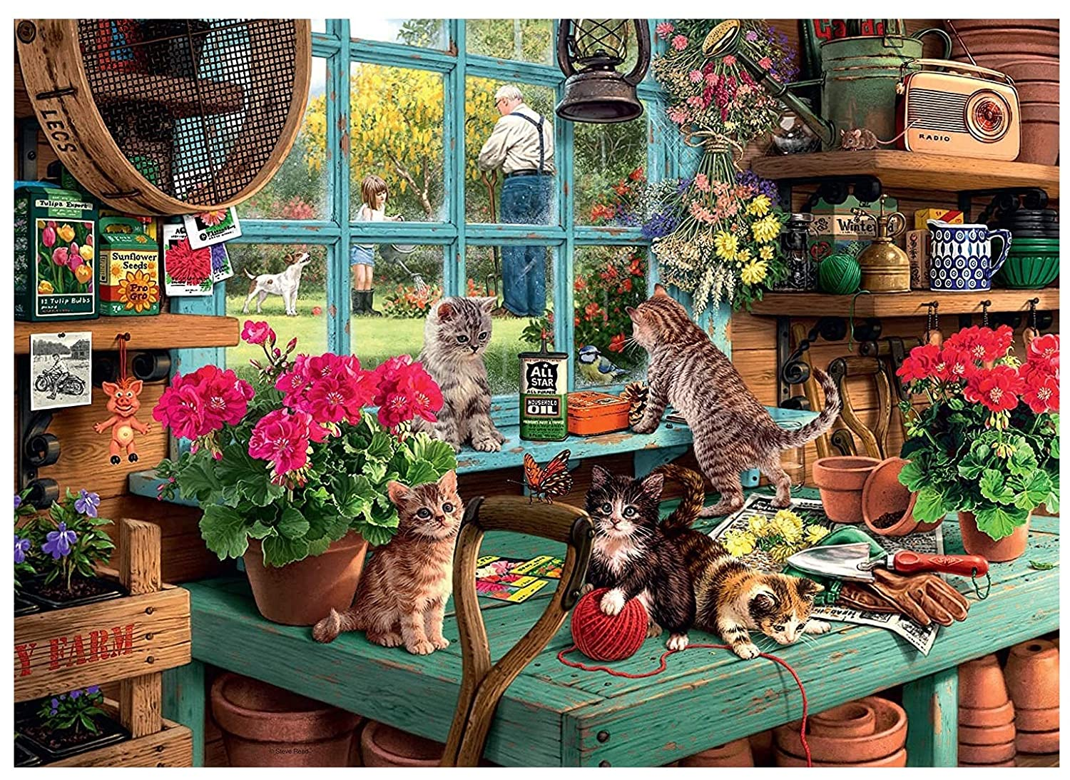 Cats and Gardenning,14ct counted cross stitch kit embroidery kits, 400x286stitch,82x63cm Egyptian cotton counted scenery cross stitch kits